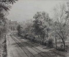 "Train Tracks  Watercolor and Pencil 10""x12"""
