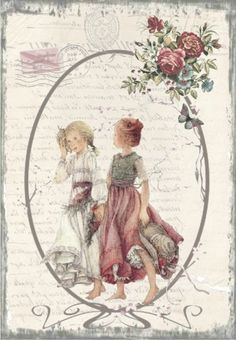 Two friends in a oval frame with pink roses, butterflies, postmark and writing. Decoupage Vintage, Éphémères Vintage, Vintage Paper Crafts, Images Vintage, Decoupage Paper, Vintage Labels, Vintage Ephemera, Vintage Pictures, Collages D'images