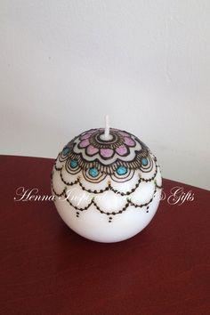 Round Handpainted  Henna Candle Round by HennaCraftsbyPramila