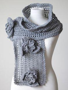 Grey Crochet Scarf Ice Queen, Beautiful unique large feminine grey gray flower lace shawl, Large neck warmer, handmade, Crochet Muffler
