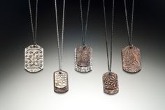 Dog Tag necklaces. Etched sterling silver and copper.  www.karahetz.com Dog Tags, Dog Tag Necklace, Copper, Necklaces, Sterling Silver, Jewelry, Jewels, Chain, Schmuck