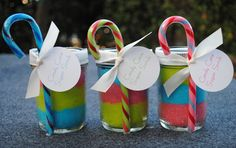 Colorful Christmas Idea: Oh Sugar Scrub in mason jar with decorative candy cane!