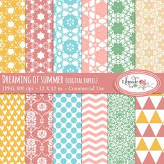 Dreaming of summer digital papers set comes with 12 full size digital scrapbook papers featuring lace, floral, chevron, damask and polka dot patterns in bright, summery colors. Size 12 x 12 inchesLICENSECommercial use license Digital Scrapbook Paper, Digital Papers, Paper Background, Background Patterns, Commercial Wallpaper, Lace Patterns, Geometric Patterns, Free Graphics, Scrapbook Supplies
