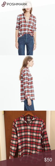 MADEWELL Flannel Slim Boyshirt in Tempe Plaid Worn once - perfect flannel for the holidays!  Cotton.  Machine wash. Madewell Tops Button Down Shirts