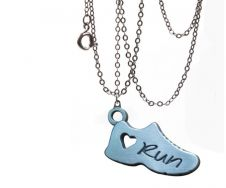 running jewelry -running shoe necklace - gifts for runners - fun and affordable cute running necklace. $11.99 only. That is just a great deal...and it makes the perfect little gift for runners.