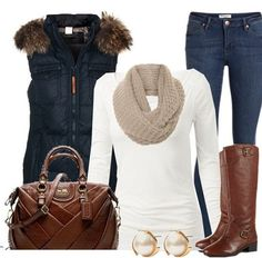 love the fur collared vest, riding boots, jeans and great bag!