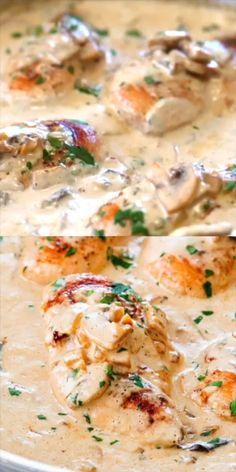 Creamy Chicken Breast Recipes, Chicken Thigh Recipes Oven, Chicken Mushroom Recipes, Baked Chicken Recipes, Oven Chicken, Healthy Chicken, Chicken Creamy Sauce, Creamy Chicken In Crockpot, Chicken In White Sauce