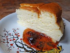Slice of Japanese cheesecake with quince jam | @hisforhome