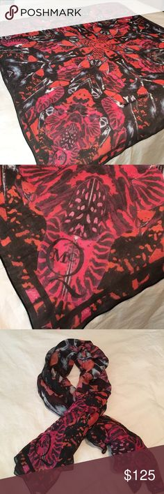 McQ Brilliantly Colored Scarf Iconic McQ Scarf. Gorgeous Colors of Raspberry, Orange & Black. Wore 2 or 3 times max. 100% Authentic. McQ Alexander McQueen Accessories Scarves & Wraps