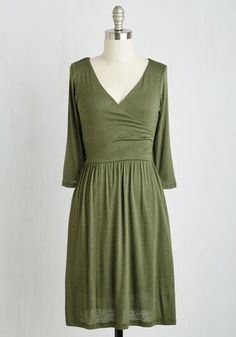 Brilliant Beginnings Dress. Kick start your ensemble with this olive knit dress at the foundation, and let your styling sensibilities run free! #green #modcloth