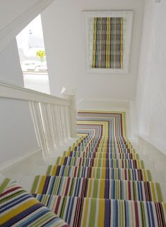 Stylish stair carpet ideas and inspiration. So you can choose the best carpet for stairs.Quality rug for stairs, stairway carpets type, etc. Striped Carpets, Patterned Carpet, Striped Carpet Stairs, White Stairs, White Carpet, Tartan Stair Carpet, Neutral Carpet, Striped Rug, White Walls