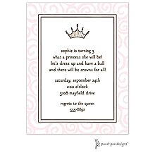 Princess crown and pink swirls party or baby shower invitation