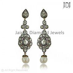 Designer Rose Cut Diamond & Pearl Dangle Earrings #handmade #earrings #fine #gifts #vinatge #jewelry #diamond #jaipurdiamondjewels #pearl #estate