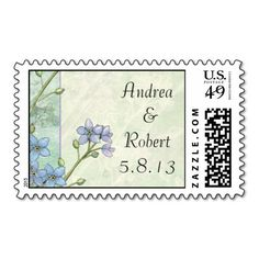 Forget-Me-Not Purple and Green Wedding Stamps