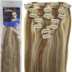 """Wedding gift: 20""""7pcs Fashional Clips in Remy Human Hair Extensions 24 Colors for Women Beauty Hot Sale (#12/613-light brown mixed with light blonde)"""