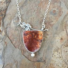 Laguna Lace Agate and Silver Necklace. Handmade by coldfeetjewelry
