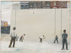 Ben Shahn, Handball, 1939, gouache on paperboard, 22.75 x 31.25 in, MoMA