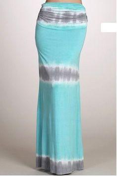 Tie Dye Aqua Blue Gray Striped Fold Over Waist Flare Summer Long Maxi Skirt | eBay