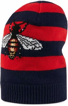 9a50b8539e7e5 GUCCI Striped wool hat with embroidered bee. A striped wool-knitted hat  with bee—an archival emblem first introduced by the House in the