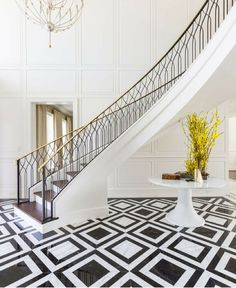 Wrap around staircases, Grand entrance, Laura U Interior Design Luxury Staircase, Curved Staircase, Staircase Design, Interior Staircase, Interior Design Colleges, Luxury Interior Design, Classic Interior, Interior Paint, House Entrance