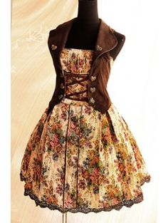 Black/Brown Floral Printed Rococo Lolita Dress with Vest