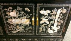 Vintage Asian Oriental Black Lacquer & Inlaid Stone Shell Carved Dresser Cabinet  - detail
