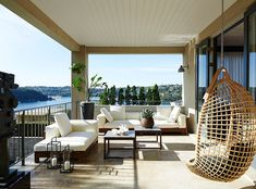 Interior design Sarah Davison transforms a Sydney home in stages, slowly replacing the tired Tuscan-style decor with a contemporary new look. Outdoor Rooms, Outdoor Living, Outdoor Furniture Sets, Outdoor Decor, Balcony Furniture, Wicker Furniture, Balcony Design, Deck Design, House Design