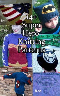 Super Hero Knitting Patterns, many free patterns