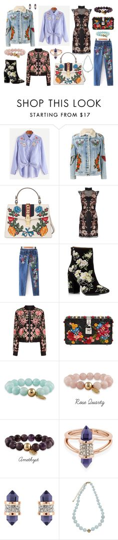 """""""Embracing Embroidery"""" by buckleylondon on Polyvore featuring Gucci, Karen Millen, Miss Selfridge, Needle & Thread and Dolce&Gabbana"""