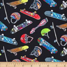 Sports Skateboard Black from @fabricdotcom  Designed for Elizabeth's Studio, this cotton print fabric is perfect for quilting, craft projects, apparel and home décor accents. Colors include black, lime, red, blue, yellow, white, and purple.