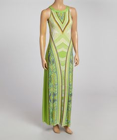 Love this Emma & Michele Lime Scarf-Print Maxi Dress by Emma & Michele on #zulily! #zulilyfinds