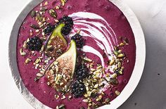 This gorgeous frozen fruit smoothie is thick and creamy and is dairy-free! Learn how to make this fruity smoothie on Tesco Real Food Mango Smoothie Recipes, Blackberry Smoothie, Mango Recipes, Smoothie Bowl, Lactose Free Smoothies, Superfood, Fig Recipes, Blackberry Recipes, Clean Eating Snacks