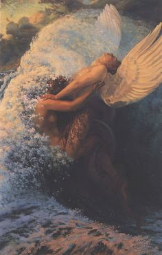 """Mermaid vs Angel. Carlos Schwabe, """"Spleen et ideal"""", 1907. Technique: Oil on canvas, 146 x 97 cm. Painting made based on the book by Charles Baudelaire, Les Fleurs du mal (Flowers of Evil), published in 1857."""