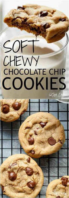 Soft Chewy Crisp Chocolate Chip Cookies - With simple steps and ONE added ingred. Soft Chewy Crisp Chocolate Chip Cookies - With simple steps and ONE added ingredient for a soft and chewy experience in LESS THAN 15 minutes! Cookie Desserts, Cookie Recipes, Dessert Recipes, Soft Cookie Recipe, Choc Chip Cookies Recipes, Frosting Recipes, Baking Recipes, Easy Recipes, Salad Recipes