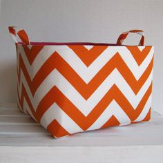 Orange and White Chevron  Large Diaper Caddy  by BaffinBags, $42.00