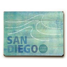 San Diego Surf Spots by Artist Peter Horjus Wood Sign