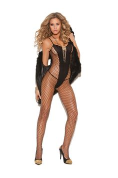 Black fishnet bodystocking with the look of an opaque teddy built in to the design. Elegant Moments lingerie, the Vivace collection. Fishnet Bodystocking, Women Lingerie, Sexy Lingerie, Black Fishnets, Sexy Stockings, Catsuit, Sexy Body, Sexy Outfits, Lingerie