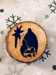 Wood painted Christmas ornament