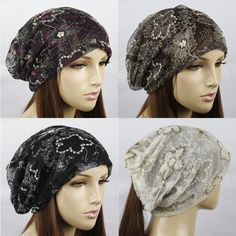 EMBROIDERY LACE LAYER SLOUCH BEANIE HAT CAP #LHT200 #HeavensFashion #Beanie