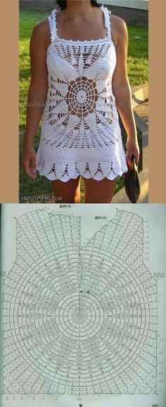 Sugestão Para Saída De Praia Em Crochê! Crochet Hot Pads, Crochet Coat, Crochet Shirt, Crochet Crop Top, Crochet Clothes, Crochet Bikini, Crochet Square Patterns, Crochet Stitches, Crochet Wedding Dresses