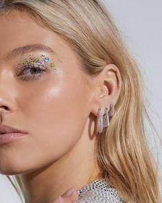 Pave Baby Amalfi Hoops- Silver- Rainbow Crystal (Ships Friday, Novembe | Luv Aj