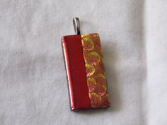 Two-Timer Red-Liner Fused Glass Dichroic Pendant by RiffRaffGlass