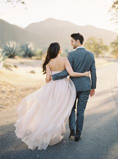 Pink dress by Sarah Seven - Santa Ynez Engagement photos captured by Jose Villa - via oncewed