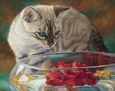 Cat Print featuring the painting Red Rose by Lucie Bilodeau