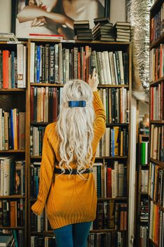 How to style a sweater dress with jeans, a belt and booties in a library photoshoot taken in a vintage bookshop. Graduation Photography, Senior Photography, Creative Photography, Portrait Photography, Fashion Photography, Fantasy Photography, Book Photography, Library Photo Shoot, Photoshoot Inspiration