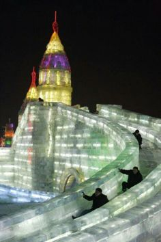 Ice tower and slide.