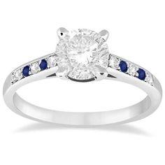 pave rings with saphire side diamonds | Rakuten.com - Butterfly Diamond & Sapphire Engagement Ring 18k White ...