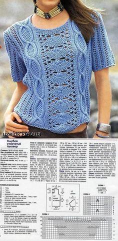 Azul estampada na camiseta. | Agulhas de tricô (blusas, ...) | pós
