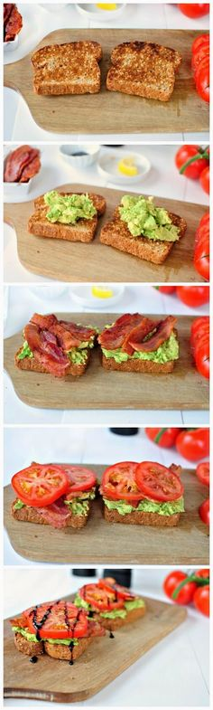 Bacon, Tomato   Avocado Smashed Toast with Balsamic Drizzle