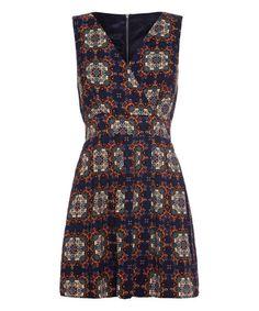 Look what I found on #zulily! Navy Batik Tie-Back Surplice Dress #zulilyfinds